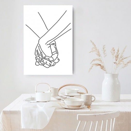 Line art canvas print of hands for a contemporary wall decoration