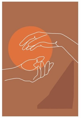 Line art canvas print of hands in a minimalist style for your wall decoration