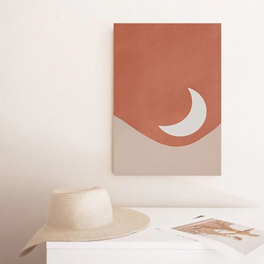 Boho wall canvas print with the moon for a minimalist interior