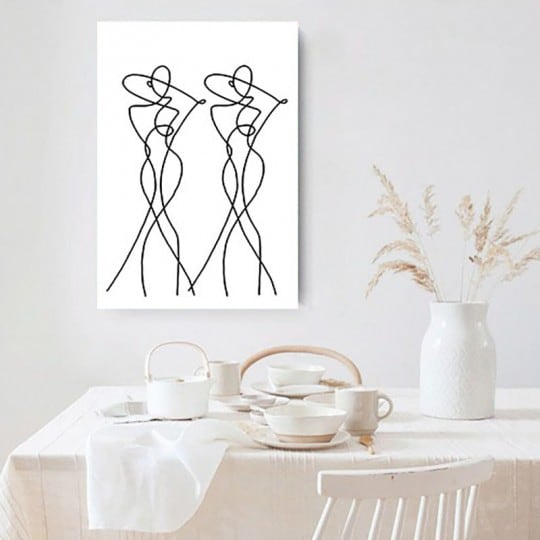 Line art wall canvas print for a minimalist wall decoration into your home