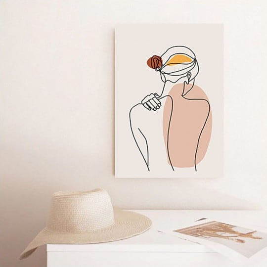Line art canvas print tenderness of a woman from the back for a boho wall decoration