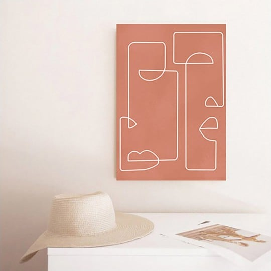 Abstract head on a boho and line art canvas print for wall decoration