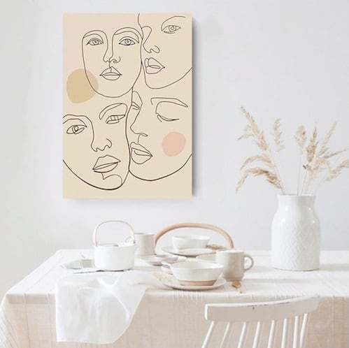 Line art canvas print with abstract faces for a modern wall decor