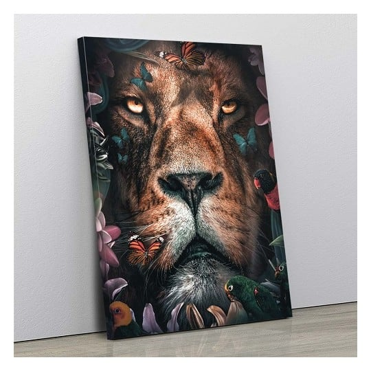 Lion wall canvas with flowers for a contemporary wall decoration