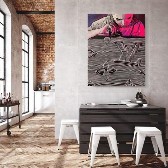 Tableau contemporain addiction de notre artiste Gab en déco murale