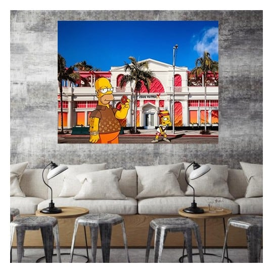 Modern limited edition wall canvas of the Simpsons by our artist Gab