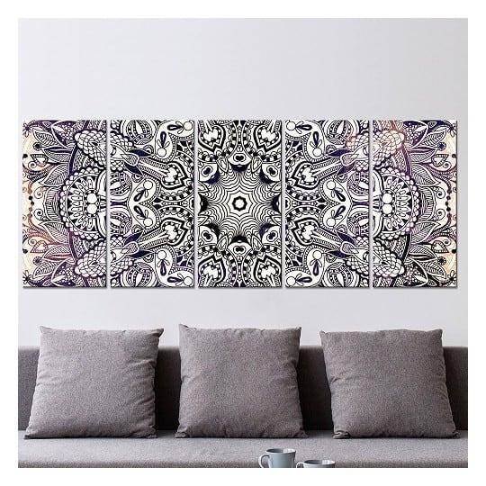 Tableau moderne mandala en noir et blanc pour votre décoration murale