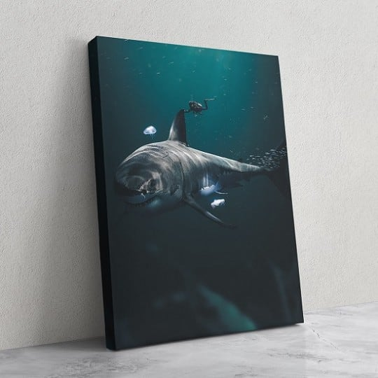 Shark wall art canvas in the ocean by our artist in design wall decoration
