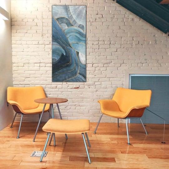 Tableau peinture contemporain bleu avec du doré pour votre décoration murale