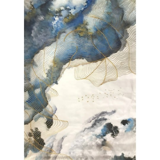 Blue and white sky on a design oil painting for a modern wall decoration