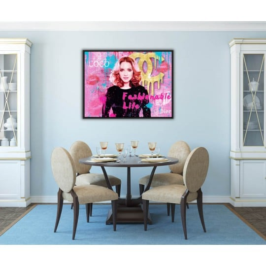 Pop art and fashion oil painting of Madonna with luxury brands for wall decoration