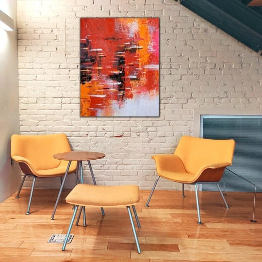 Design oil painting wall decoration with a red touch for your interior