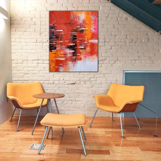 Tableau peinture rouge fait à la main par nos artistes pour un intérieur design