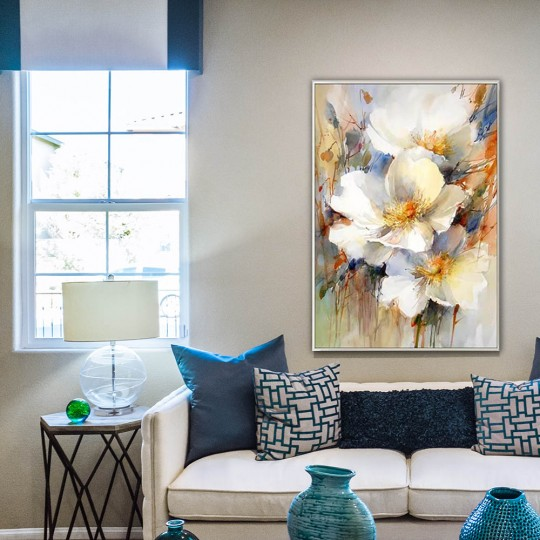 Abstract flowers on an oil painting canvas from our artists