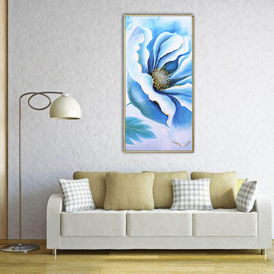 Oil painting on canvas of a large blue flower for your interior decoration