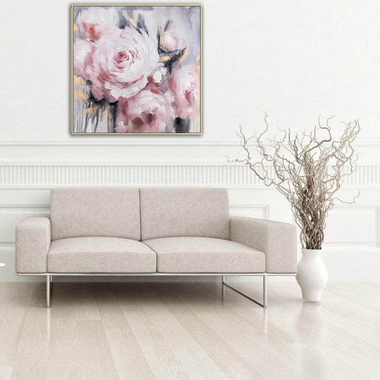 Wall oil painting on canvas of rose flowers for your wall decoration