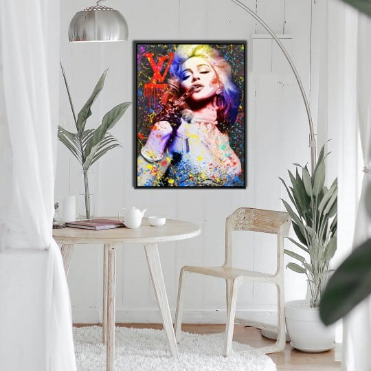Pop art wall oil painting with a street art style of Madonna