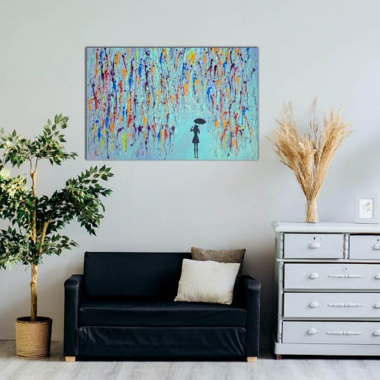 Modern blue oil painting decoration for a design interior