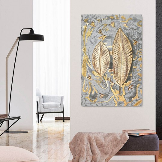 Gold feather oil painting on canvas for your design wall decoration