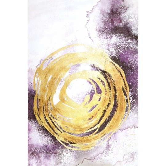 Gold and purple design oil painting for a modern interior decoration