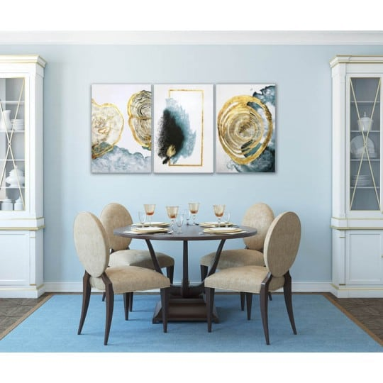 Design oil painting with 3 frames and blue and gold symbols
