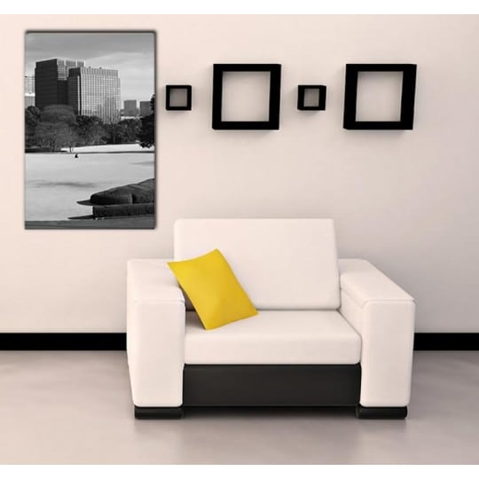 A lonely landscape picture of Tokyo with grey buildings to decorate your home with a luxury frame for the design lovers