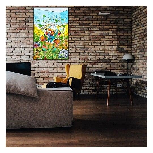 Tableau pop art de picsou avec ses billets dans une déco murale colorée