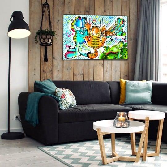 Tableau street art de Garfield dans une déco murale pop art