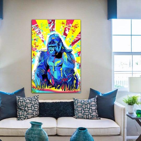 Tableau street art de gorille pour une décoration murale colorée