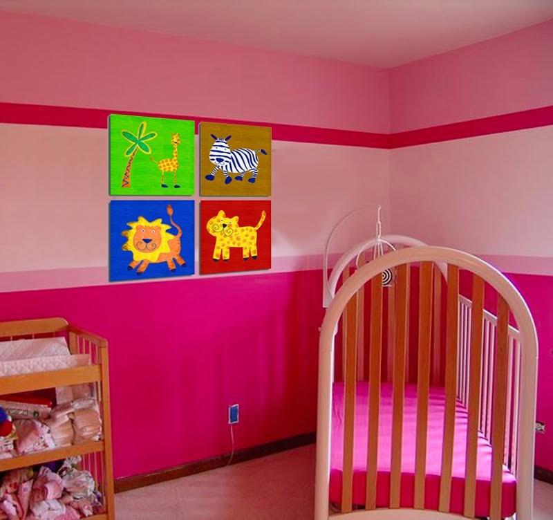 Tableau déco pour enfant avec des animaux de la jungle en couleur