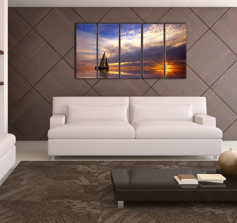 tableau paysage voilier sur l 39 eau artwall and co. Black Bedroom Furniture Sets. Home Design Ideas