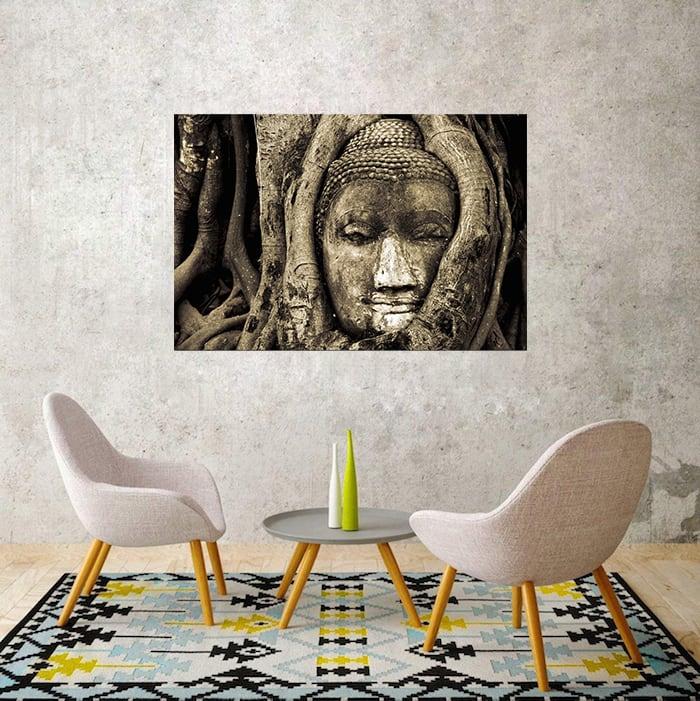 Tête de bouddha en tableau contemporain pour une ambiance zen
