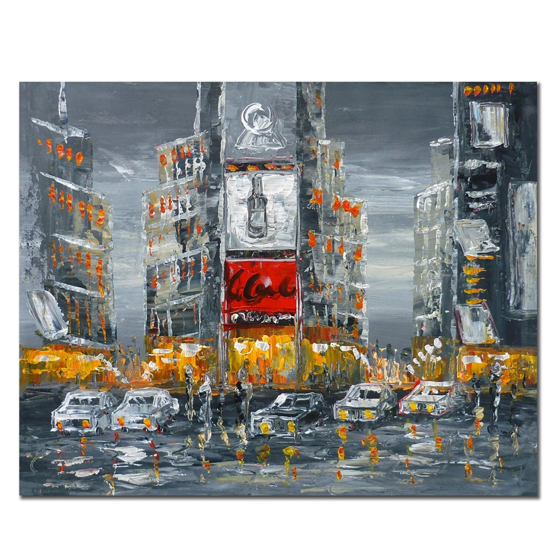 Peinture contemporaine et abstraite de Times Square en décoration murale