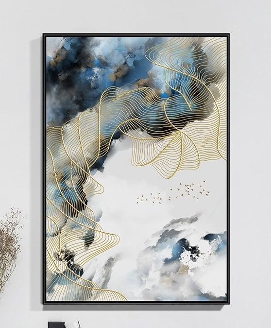 Tableau abstrait ciel bleu pour une décoration murale moderne