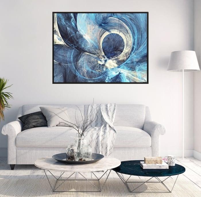 Tableau moderne bleu atlantide pour votre décoration intérieur