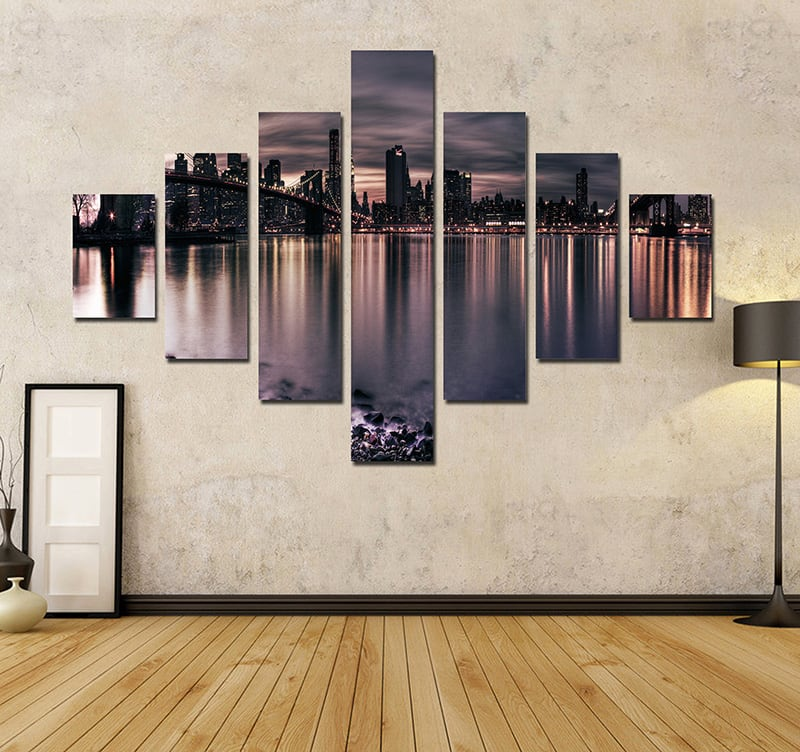 Tableau ville new york by night for Decoration murale vue sur new york
