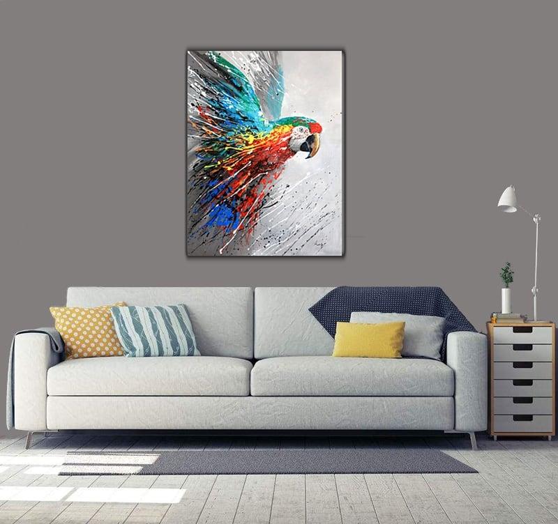 Toile peinture abstraite d'un perroquet coloré