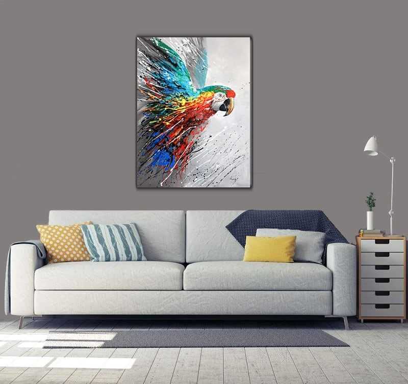 Modern oil painting of a colourful parrot