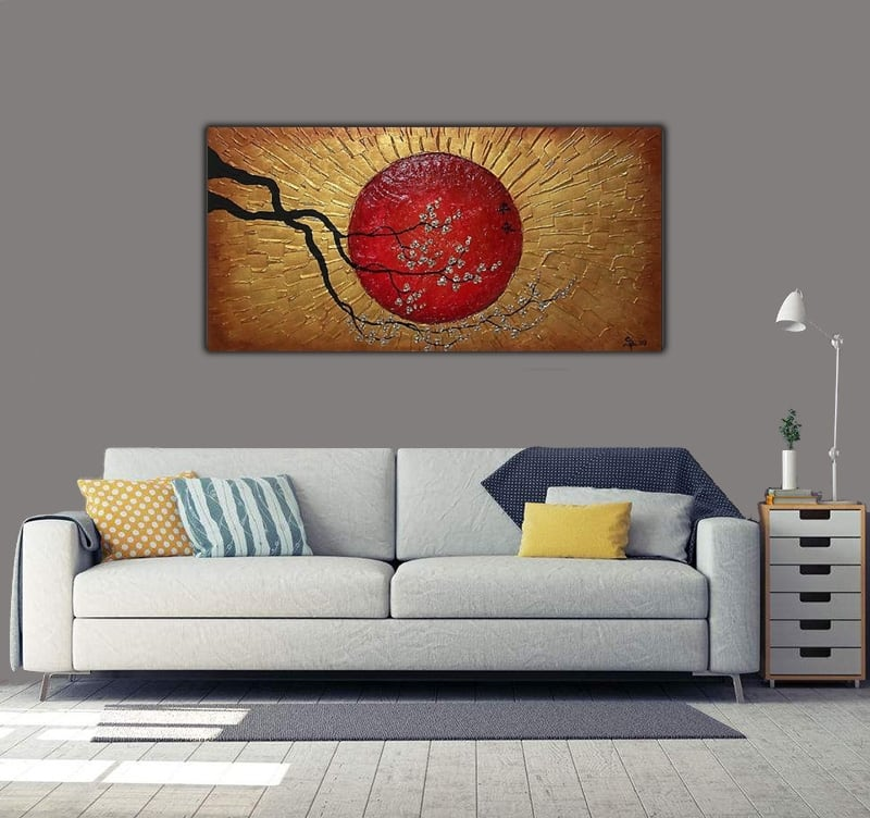 Modern abstract oil painting of a gold sun