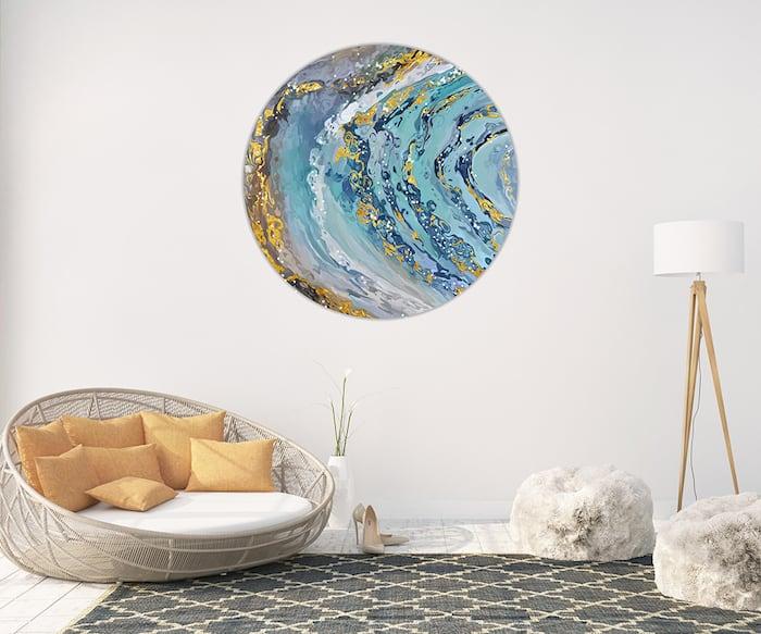 Modern round wall decorative canvas for a unique interior