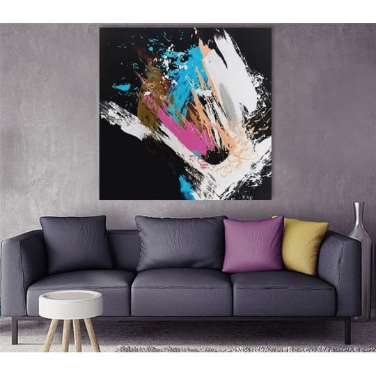 Artistic modern oil painting on canvas for original and colorful interior