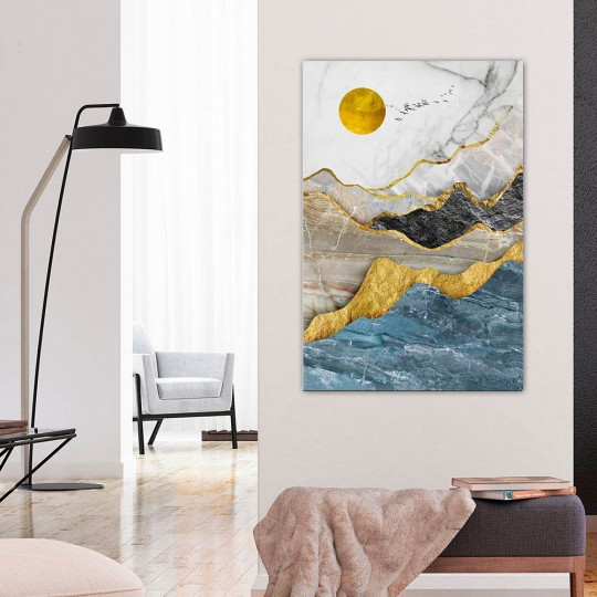 Oil painting on canvas of mountain in gold and grey for your wall decoration