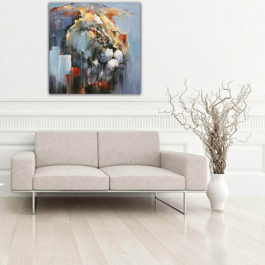 Abstract lion portrait on oil painting canvas for a modern wall decoration