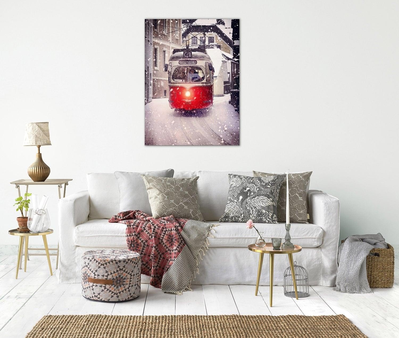 Photo d'art vintage sur aluminium d'un tram dans la neige