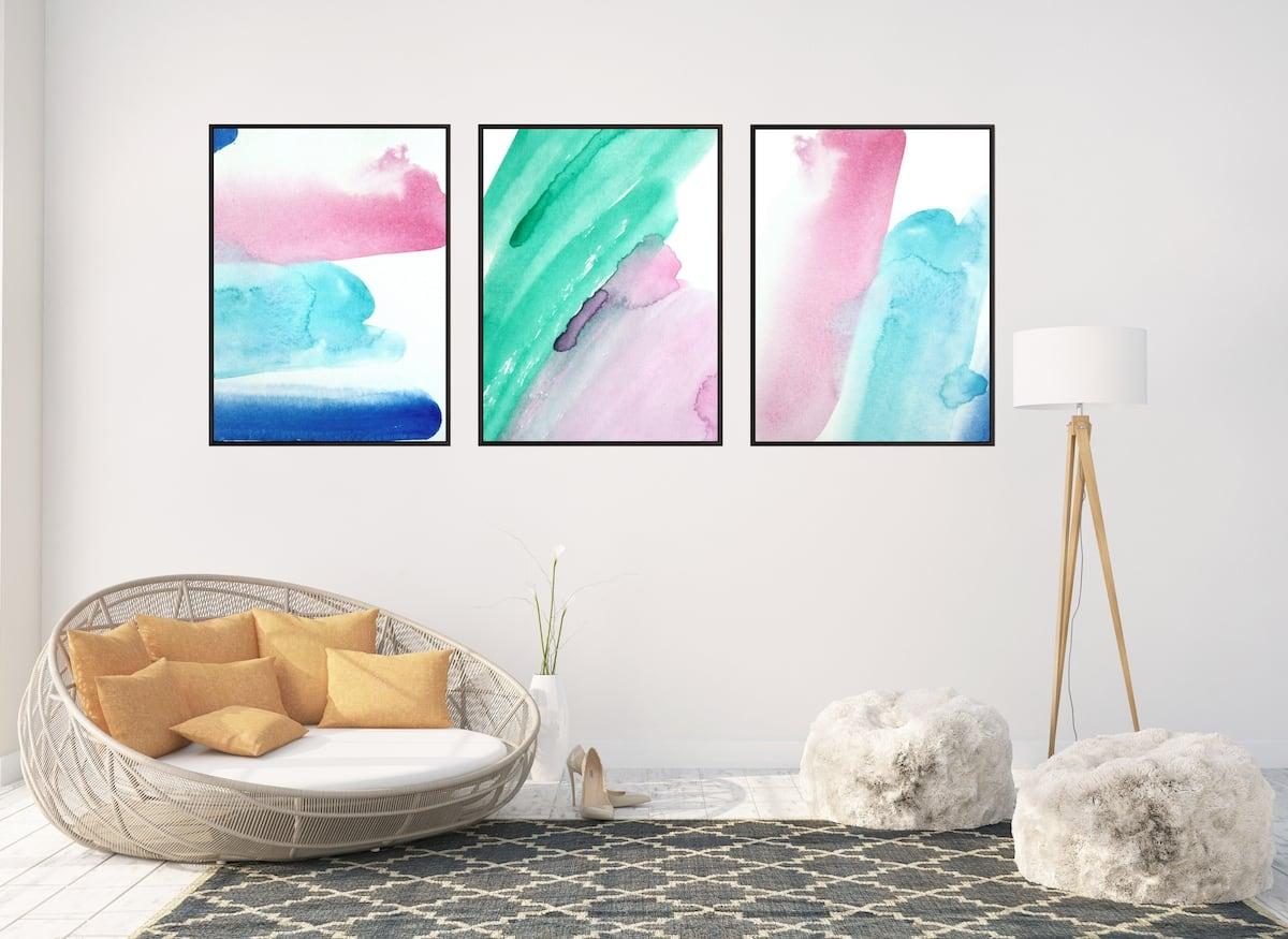 Triptyque design et minimaliste de nos toiles murales evasions