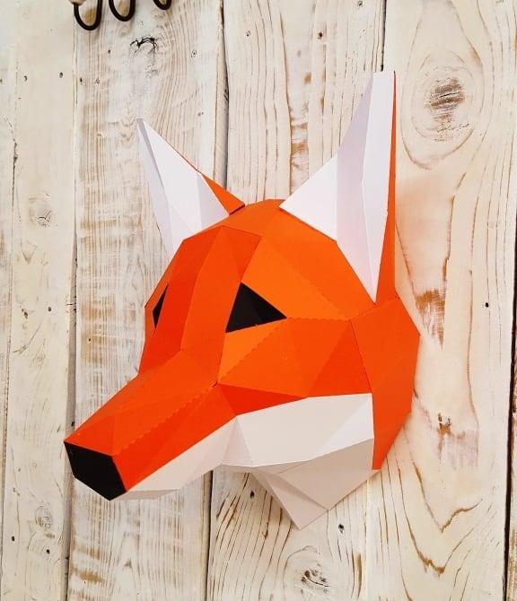 Trophée papier de renard design en touche déco