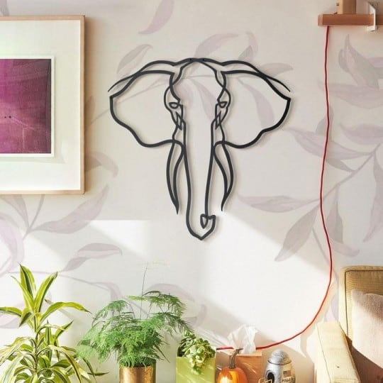 Elephant metallic wall decoration for a design and modern interior
