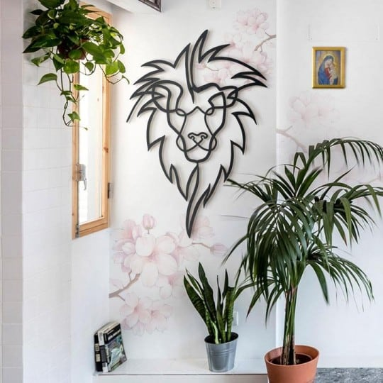 Lion metallic wall decoration for an animal touch into your home