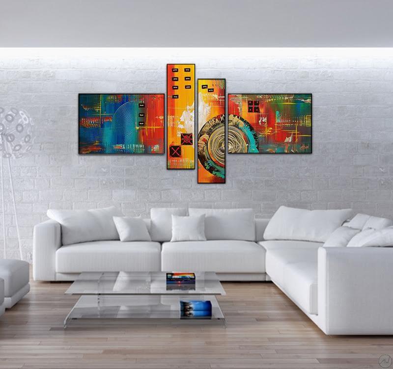 Toile moderne peinte à la main avec des couleurs originales
