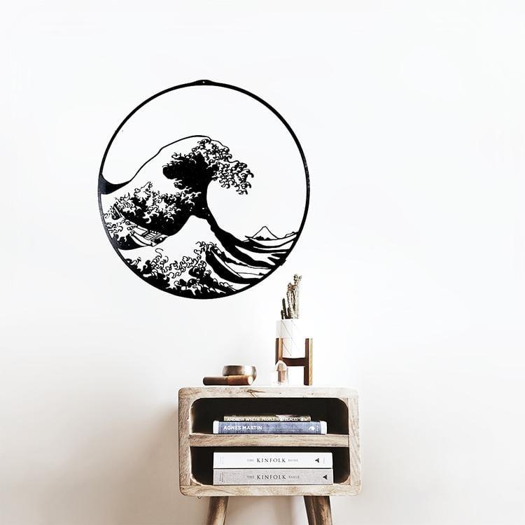 Kanagawa wave wooden wall decoration for a design black interior